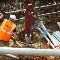Screw piling for Network Rail for temporary footbridge - Walthamstow - London